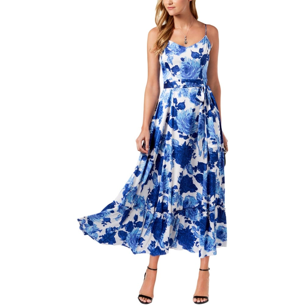 Betsey Johnson Womens Maxi Dress Satin Floral