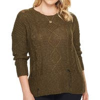 Lucky Brand Olive Green Womens Size 2X Plus Distressed Sweater