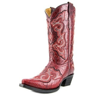 Corral E1050-T Youth EW Pointed Toe Leather Red Western Boot