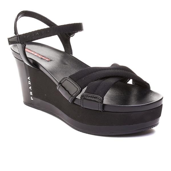 Shop Prada Women s Patent Leather Platform Sandals Black - Free ... 8744ba59a1