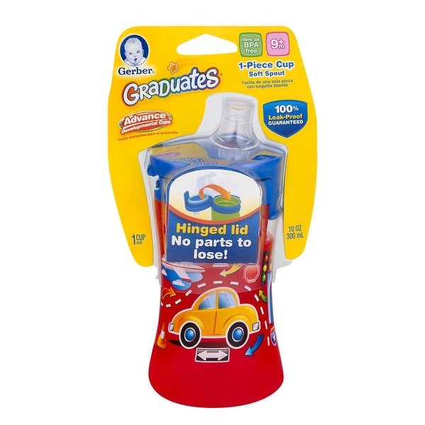 Gerber Graduates Baby Cup 9M+ 10 oz Soft Spout BPA Free Hinged Lid Red 1-Piece