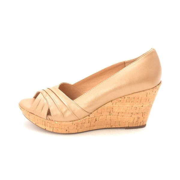 Sofft Womens Olwen Leather Open Toe Wedge Pumps - 9.5