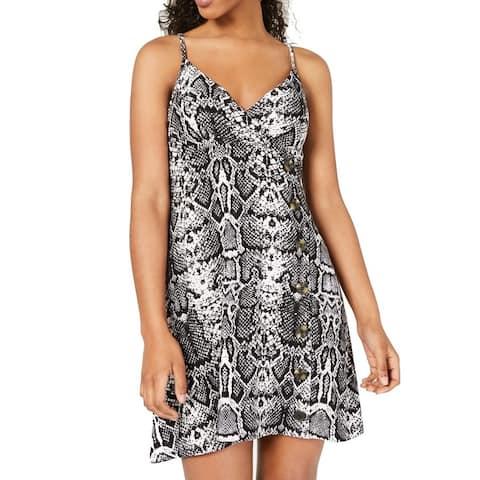 Planet Gold Junior Cami Mini Dress Black Size M Snake Print Button Surplice 543
