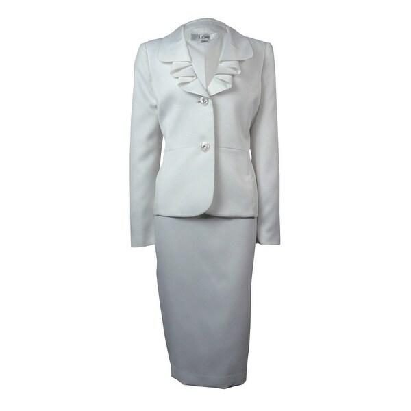 Le Suit Women's Woven Rose Garden Skirt Suit - Vanilla Ice