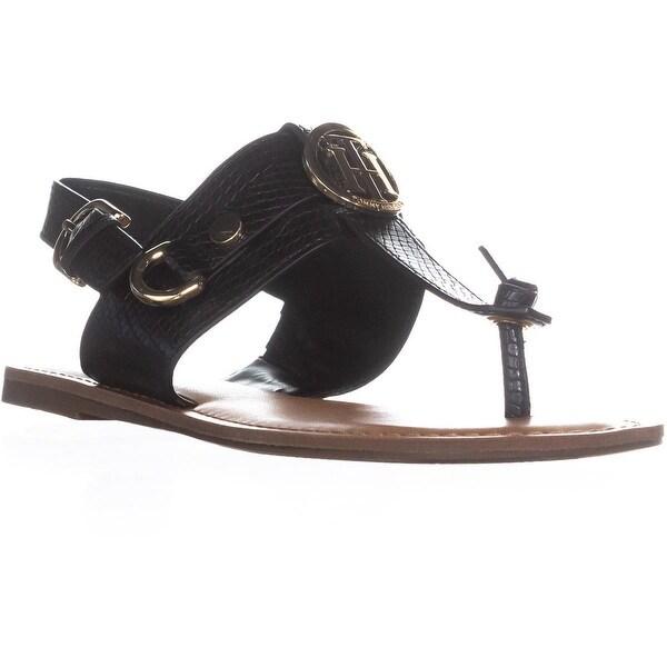 Tommy Hilfiger Luvee Flat Ankle Strap Sandals, Black - 7.5 us