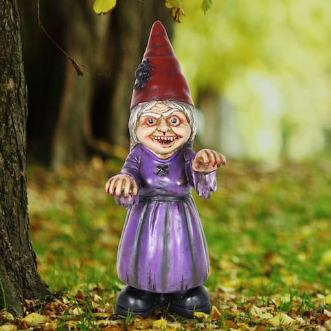 Exhart Halloween Female Zombie Gnome Statue, 12 Inches tall