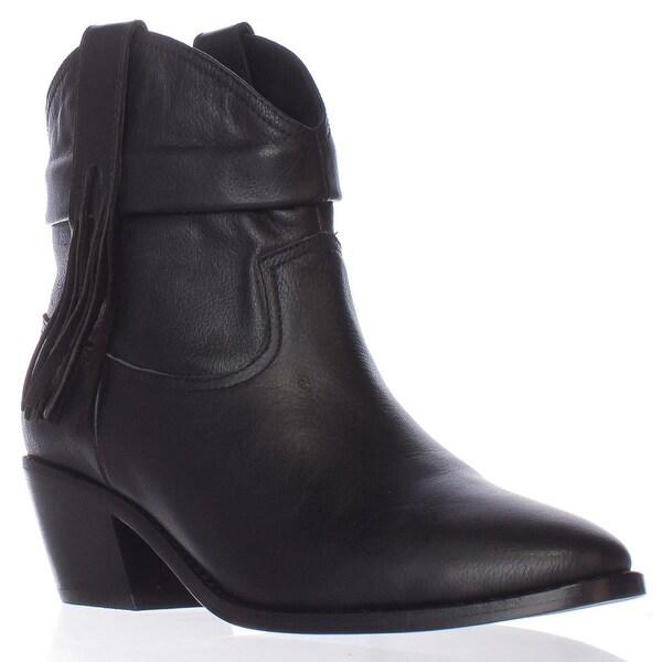 Joie Keaton Fringe Chelsea Western Ankle Boots, Black