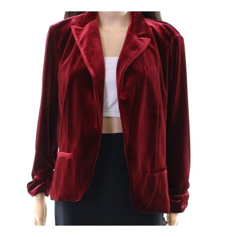 Amanda + Chelsea Women's Red Size Large L Velvet Knit Blazer Jacket
