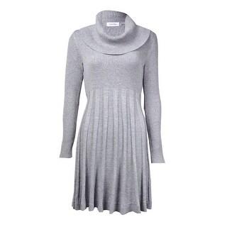 Calvin Klein Women's Cowl Neck Fit & Flare Sweater Dress