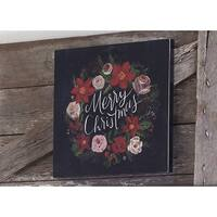 "14"" Red, Green and Black ""Merry Christmas"" Floral Holiday Wall Art"