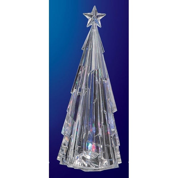 "Pack of 2 Icy Crystal Decorative Modern Illuminated Christmas Tree Figures 13"" - CLEAR"