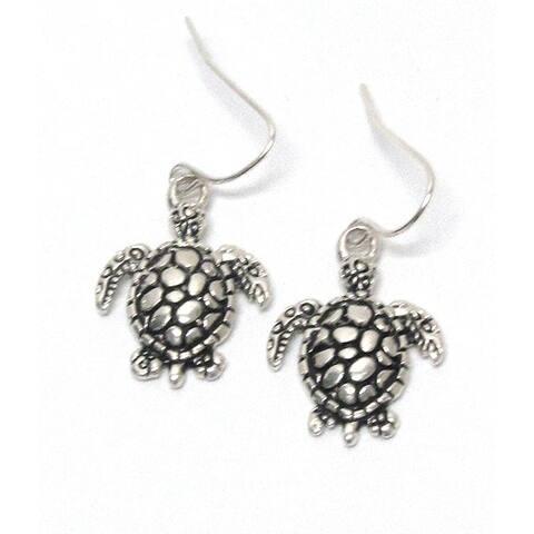Metal Textured Turtles Hook Earrings