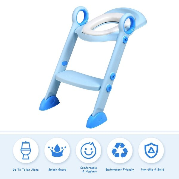 Costway Toddler Toilet Potty Training Seat with Sturdy Non-Slip Ladder Step Boys & Girls - Blue