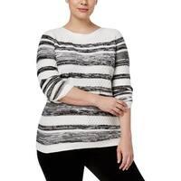 Karen Scott Womens Plus Pullover Sweater Knit Textured