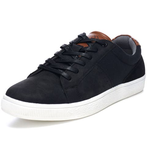 Alpine Swiss Ken Mens Low Top Fashion Sneakers Casual Lace Up Tennis Shoes - Black