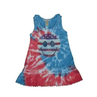 Patriotic Tie Dye Studded Smiley Face Ruffle Dress Toddler Girls 6M-4T