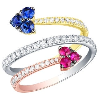 Prism Jewel 0.94CT SI2 Blue Sapphire & Pink Ruby Gemstone with G-H/I1 Natural Diamond Bypass Ring