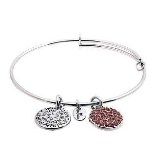 Chrysalis Expandable October Bangle Bracelet with Pink Swarovski Crystals in Rhodium-Plated Brass