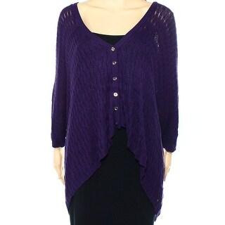 Alberto Makali NEW Purple Womens Medium M Button-Front Cardigan Sweater