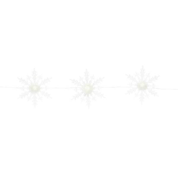 """45""""L 3 Sophisticated White and Translucent Strand of Lighted Snowflakes - CLEAR"""