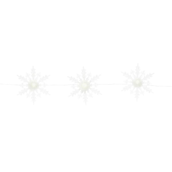"""45""""L 3 Sophisticated White and Translucent Strand of Lighted Snowflakes"""