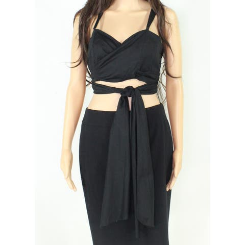 WAYF Women's Top Black Size Large L Sweetheart Cropped Tie-Front