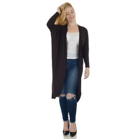 Simply Ravishing Dolman Long Sleeve Full Length Open Cardigan (Size: S-5X)