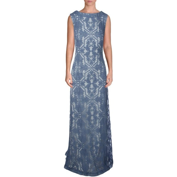 Tadashi Shoji Womens Evening Dress Lace Embroidered