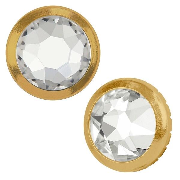 Swarovski Elements Crystal, 2078/H Framed Round Flatback Rhinestone 7.8mm, 4 Pieces, Crystal / Gold