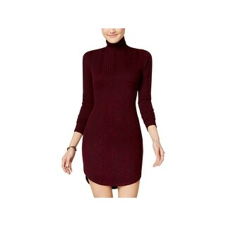 No Comment Womens Juniors Sweaterdress Marled Turtleneck