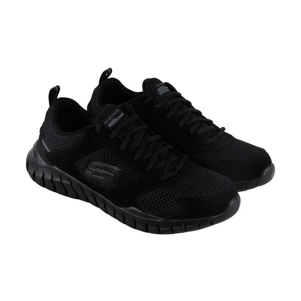 Skechers Overhaul Aukelt Mens Black Mesh Athletic Lace Up Training Shoes