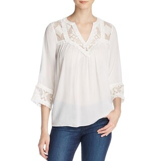 Pepin Womens Pullover Top Sheer Lace-Trim