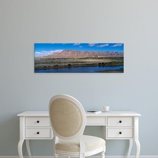 Easy Art Prints Panoramic Images's 'River with mountain in the background, Morocco' Premium Canvas Art