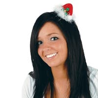 Club Pack of 12 Red, White and Green Santa Hat Hair Clip Christmas Party Favor Costume Accessories - Red