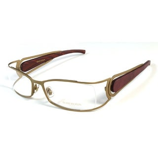 Boucheron Unisex Curved Rectangular Eyeglasses Brown/Wood - S