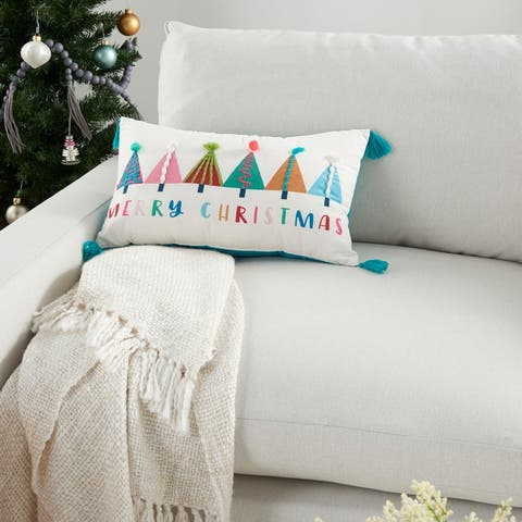 """Mina Victory Holiday Colorful Trees Tassel Multicolor Throw Pillow 12""""x 20"""""""