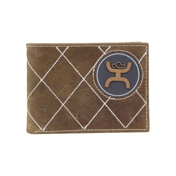 HOOey Mens Wallet Bifold Signature Logo Western Brown - 4 x 3/4 x 3