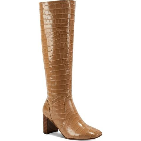 Marc Fisher Womens Revely Knee-High Boots Leather Square Toe - Dark Natural Leather