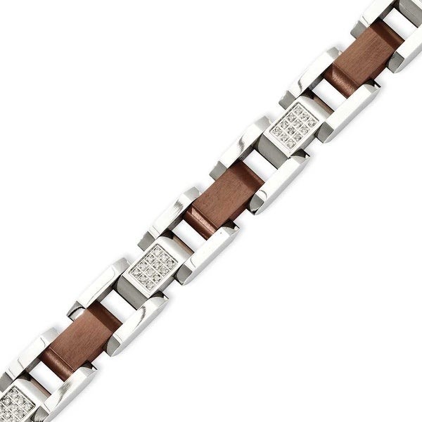 Stainless Steel Brown-plated with Diamonds 8.5in Bracelet
