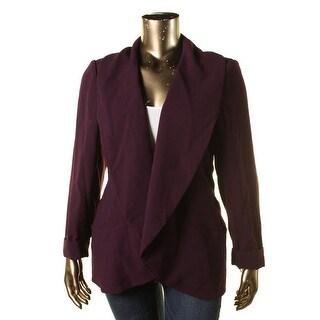 Calvin Klein Womens Plus Crepe Shawl Lapel Open-Front Blazer