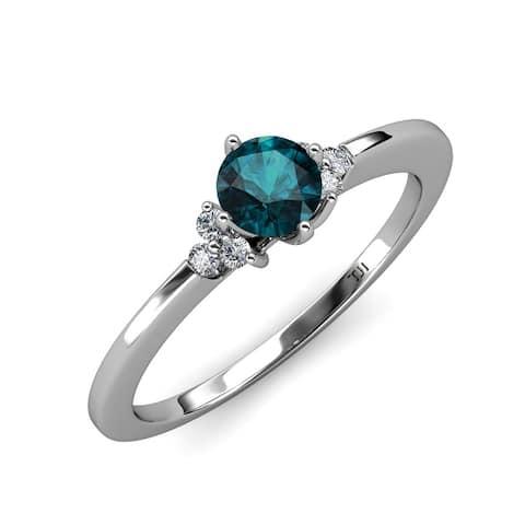 TriJewels London Blue Topaz Diamond 1 1/8 ctw Engagement Ring 14K Gold