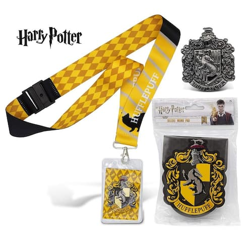 Warp Gadgets Harry Potter Bundle Hufflepuff Deluxe Lanyard W/Card Holder, Pewter Lapel Pin and Deluxe Memo Pad (3 items)