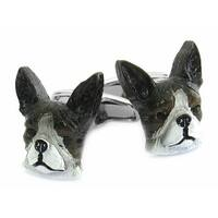 Painted Boston Terrier Dog Animal Cufflinks