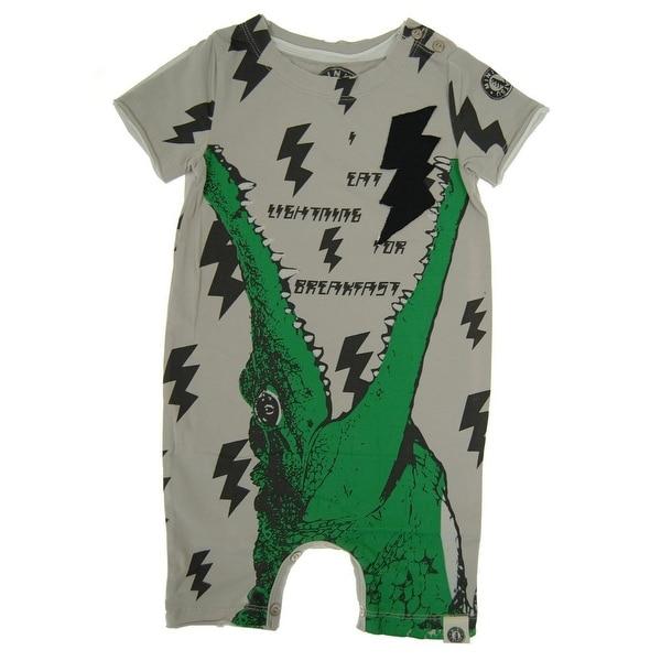 Mini Shatsu Baby Boys Grey Gator-Lightning Short Sleeve Snap Romper