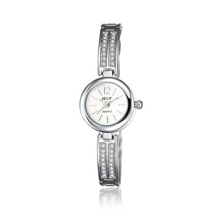 White Gold Plated Ingrain Design Ivory Dial Watch - Black