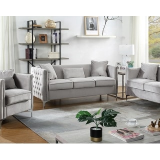 Link to Bayberry Contemporary Velvet Fabric Sofa Couch with 3 Pillows Similar Items in Living Room Furniture