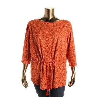 Lauren Ralph Lauren Womens Plus Cotton Printed Tunic Top