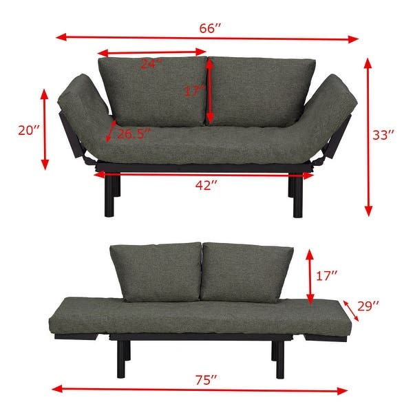 Shop Costway Futon Sofa Sleeper Loveseat Convertible Sofa ...