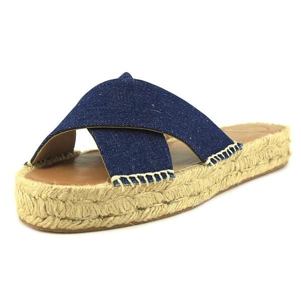 French Connection Luz Women Open Toe Canvas Blue Slides Sandal