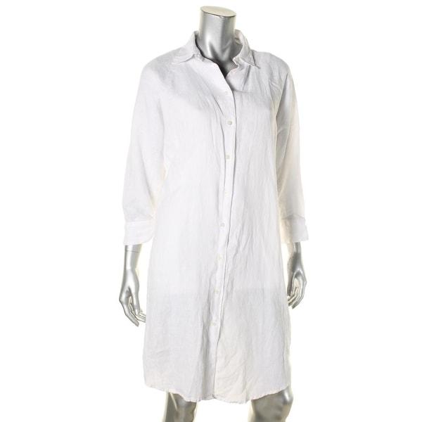 bc7b8201c Shop Lauren Ralph Lauren Womens Aeryn Shirtdress Linen Button-Down ...
